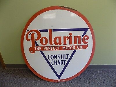 """Clean Vintage 42"""" Polarine Consult Chart Motor Oil Raco Sign Gas Porcelain Old"""