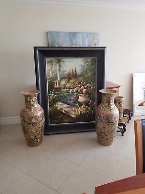 Oriental Vases And Oil Painting. Vases Are 40 Years Old But Brand New Condition!