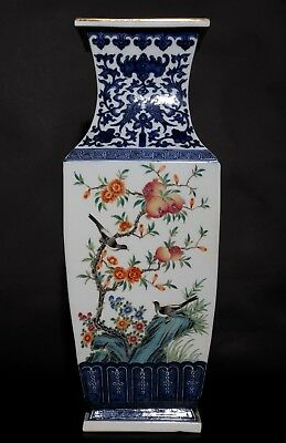 Large Antique China Landscape Famille Rose Porcelain Vase Mark Qianlong