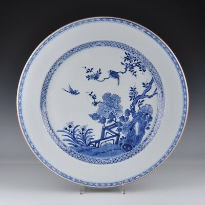 A Very Large Chinese Porcelain 18th Century Qianlong Period Charger With Birds