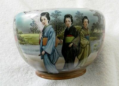 Japanese  Bowl Decorated With Geisha Women In Period Dress - Free Shipping