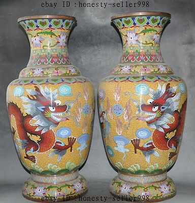 Old China Bronze Cloisonne Enamel Dragon Phoenix Lucky Bottle Pot Vase Jar Pair