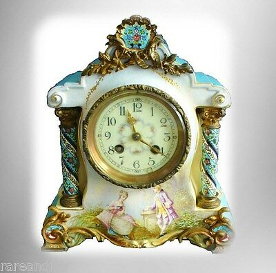 Sevres Style French Vintage Hp Porcelain Clock - Artist Signed Free Shipping