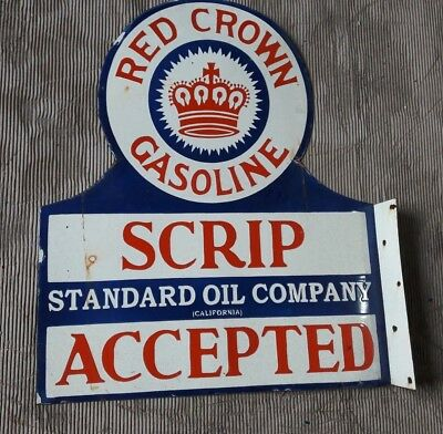 "Red Crown Gasoline  Enamel Sign Size 29"" X 24"" Inches  2 Sided Flange"