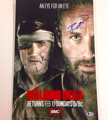 The Walking Dead X4 Cast Signed 12x18 Photo * Beckett Bas Coa ~lincoln