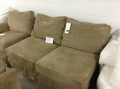 Pottery Barn Pb Comfort Armless Love Sectional Box Poly Wheat Everyday Suede