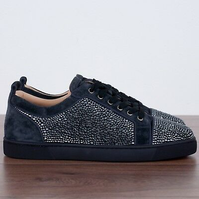 christian louboutin 2100$ authentic charbon veau and strass louis junior sneakers