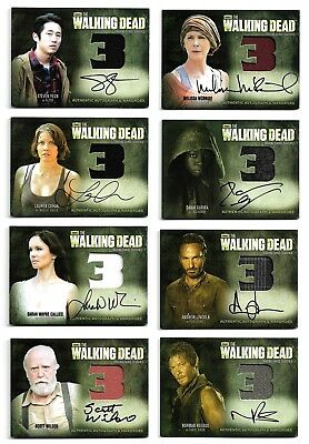 Cryptozoic The Walking Dead Season 3 Part 1 & 2 Autograph Wardrobe Complete Set