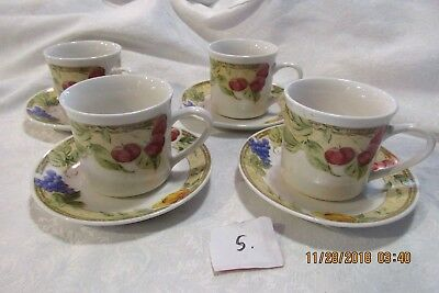 Gibson Housewares Everyday Fruit Tea Cup And Saucer Set Of 4 Colorful