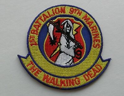 Marine 1st Bat 9th Marines Walking Dead Embroidered Patch 2.75 Inches
