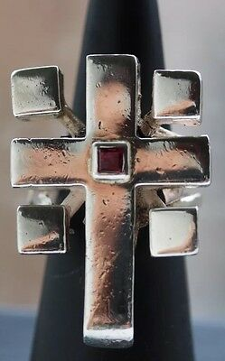 Sterling Silver 925 Crucifix Ring With Pigeon Blood Red Ruby Size 6, Billy Idol