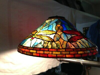 """One Of A Kind 20"""" Hand Made Stained Glass Dragon Fly Lamp Shade Tiffany Style"""