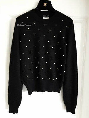 nwt $1600 14b chanel black white pearl cashmere mohair sweater 38