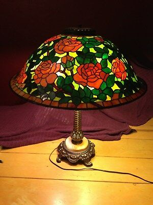 Hand Made Stained Glass Rose Lamp Shade Tiffany Style