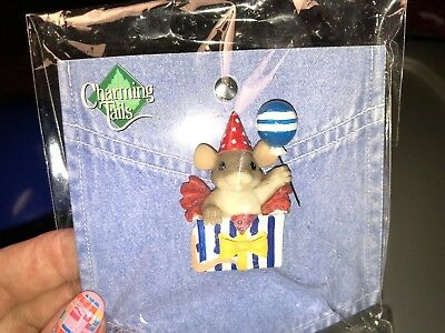 "Charming Tails ""happy Birthday Present"" Lapel Pin Mouse 🐭 Dean Griff Balloon 🎈"