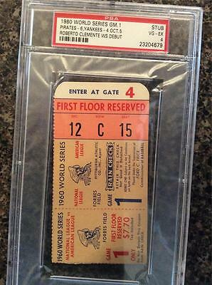 Psa 4 1960 World Series Ticket Pirates Yankee Clemente Debut Maris Mazeroski Hr.