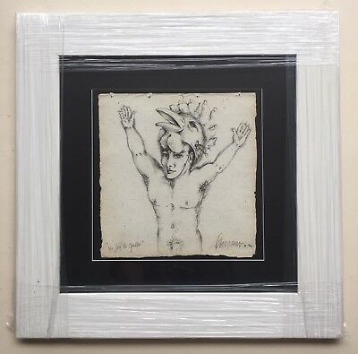 Nick Quijano, Framed Signed Original Rooster Guy Drawing 1996, Puerto Rico Art
