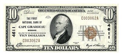 Cape Girardeau, Missouri (mo) $10 National Bank Note, 1929 Series, Ty 1, Ch 4611