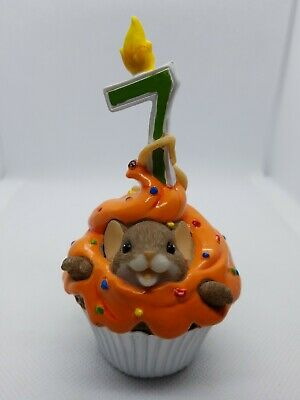 Charming Tails Happy Birthday Cupcake Year 7 Mouse Figure Enesco