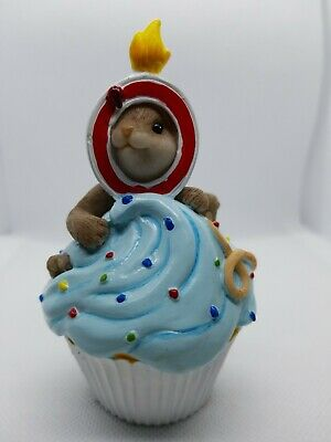 Enesco Charming Tails Happy Birthday Cupcake Year 0 Mouse Figure  4020640