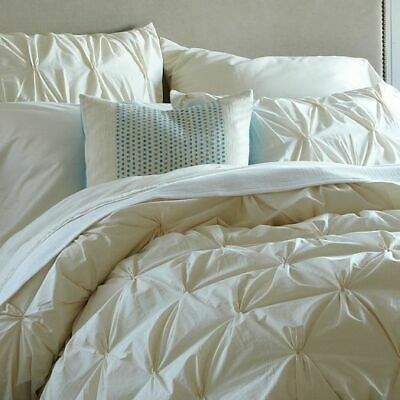 West Elm Organic White Cotton Pintuck Full Queen Duvet Cover Only