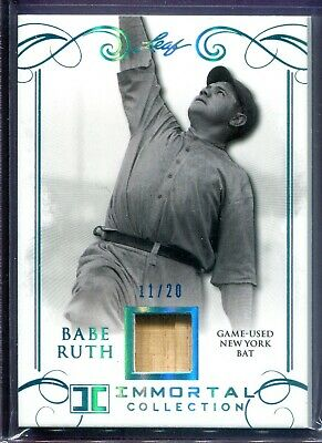 Babe Ruth 2017 Leaf Immortal Collection Game Used Relic #yb-27 #11/20 Yankee Bat
