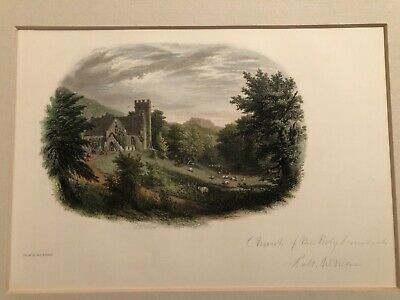1851 Signed Robert W. Weir Colored Etching Church Holy Innocents West Point Art