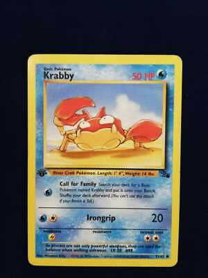 Krabby Original First Edition Pokemon Card Fossil 51/62 Nm/m Never Played!!