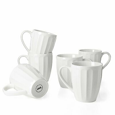 Sweese 6208 Porcelain Fluted Mugs - 14 Ounce For Coffee, Tea, Set Of 6, White