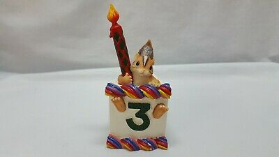"Charming Tails 3 Year Old Birthday Cake Slice Titled ""#3 Chauncey"" Sold As Is"