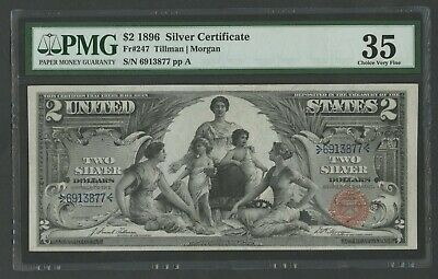 "Fr247 $2 1896 Silver Cert ""education"" Note Pmg 35 Choice Vf Wlm8577"