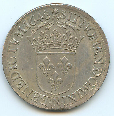 Louis Xiv (1643-1715) Ecu With Wick Long 1648 N Montpellier Quality