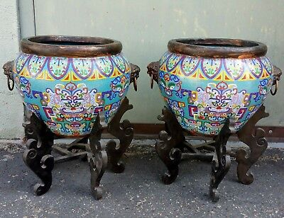 Pair Old Chinese Cloisonne Enamel Jars W/ Stands Lion Handles