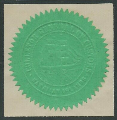 Hawaii Green Embossed Customs House Seal Full Rigged Sailing Ship Rare Wlm9152