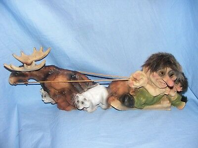 Ny Form Nyform Troll On Sleigh With Moose Norway Collectable Norwegian Limited