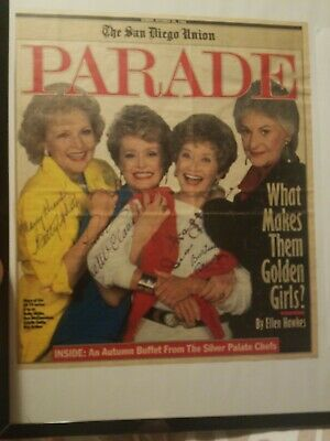 Rare! Parade Magazine Cover Signed By All Four Golden Girls!!! Autographed Tv