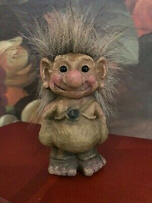 Vintage Nyform Troll Figurine Made In Norway Spiky Hair & Tail Glass Eyes 3 Inch