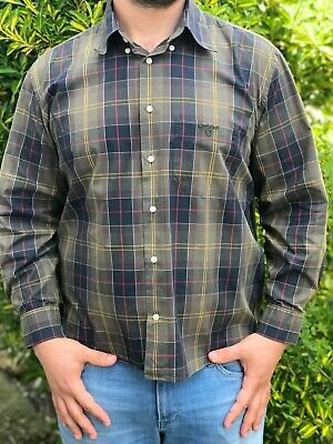 Barbour Dunoon Highland Plaid Check Striped Casual Regular Fit Brown/black Sz L