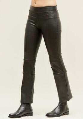 Daryl K Leather Cropped Bootleg Bootleggings Leggings 2 Lambskin Black Stretch