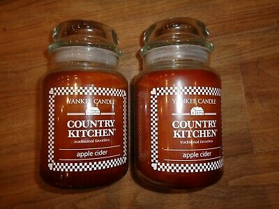 Yankee Candle Country Kitchen ~apple Cider Candle 22 Oz  Vhtf Lot Of 2