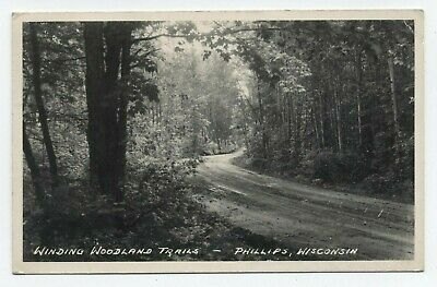 Wi ~ Rppc Woodland Trails Drive Phillips Wisconsin 1949 Price County Postcard