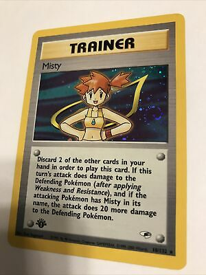 Pokemon Trainer Misty 18/132 First Edition Holo Gym Heroes Mint Condition *SWIRL