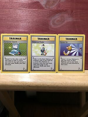 Computer Search, Pokemon Trader, & Scoop Up Base Set 2 Rare Trainers NM Bundle