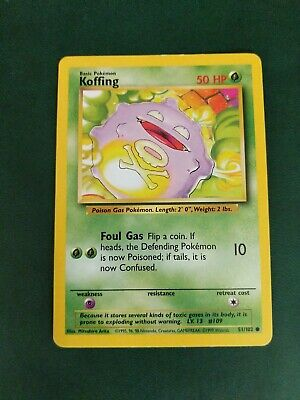 KOFFING - Base Set - 51/102 - Common - Pokemon Card - Unlimited - 1999 - NM