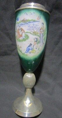 Chinese  Hand Paint Romantic Scene Sterling Silver Sign Stamp Artist Green Cup