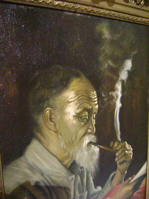 German Painting Oil On Canvas Old China Chinese Man Pipe Bear Muller Gilt Frame
