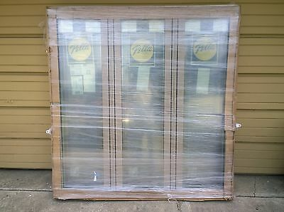 New: Large Pella Wood 3-lite Picture Window W/ Cladding & Built-in Shade 63x65