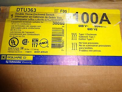 Brand New In Box Square D 100a, 3ph, 600v Double Throw Switch Cat. Dtu363