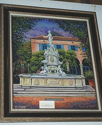 Tom Phillips Oil Painting Of A Water Fountain