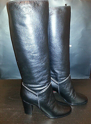 Vhtf Nib Chanel Leather Knee High Classic Cc Quilted Leather Tall Boots 40 8.5 9